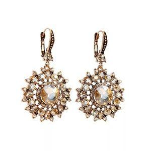 Peachy Rose Crystal Vintage Lever Back Earrings